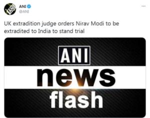 ब्रिटेन के न्यायाधीश ने नीरव मोदी को भारत प्रत्यर्पित करने का दिया आदेश