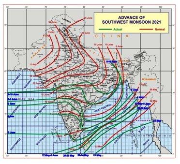 मानसून दक्षिण गुजरात क्षेत्र के साथ, महाराष्ट्र व् तेलंगाना के शेष भागों की ओर बढ़ा