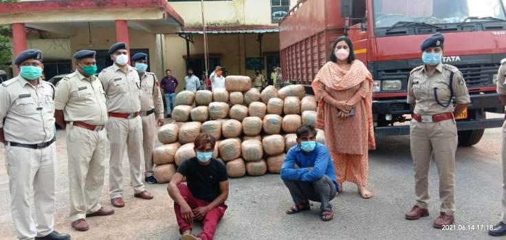 पुलिस ने 2 करोड़ 20 लाख का गांजा पकड़ा, जिले में अब तक की सबसे कार्यवाही